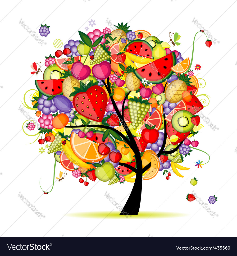 Energy fruit tree vector image