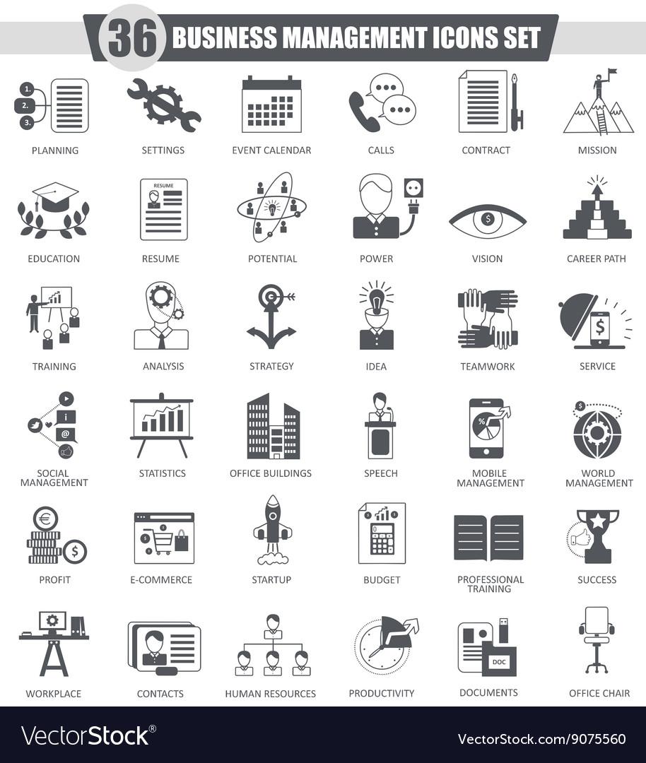 Business management black icon set Dark vector image