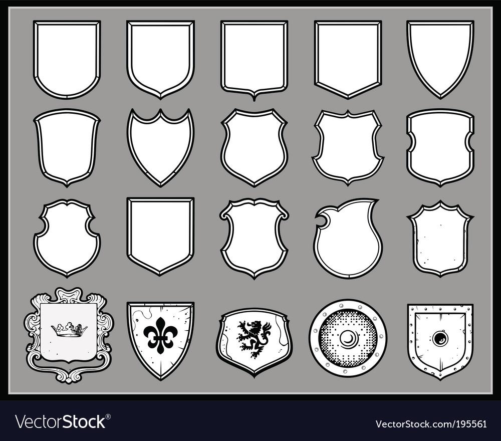 Heraldic shields template vector image