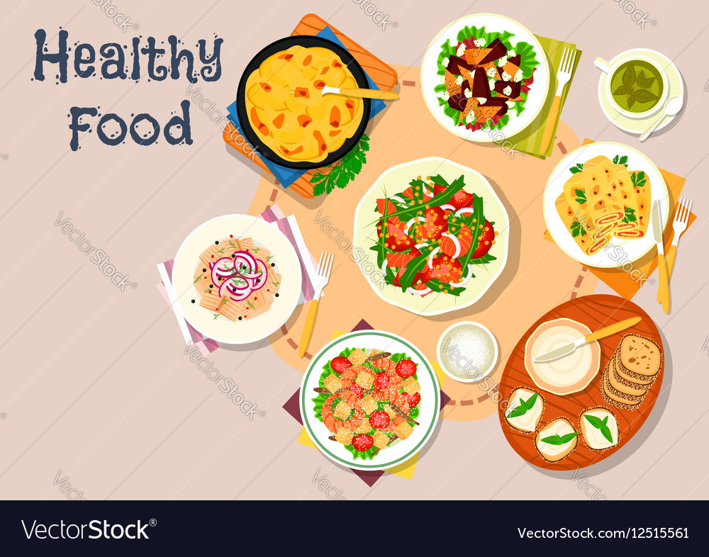 Lunch with fish and cheese dishes icon vector image