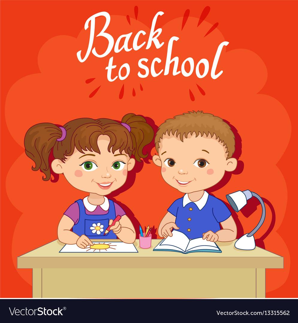 Funny pupils sit on desks read draw clay cartoon vector image