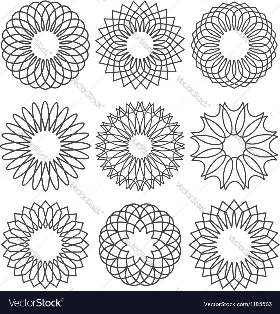 Set of rosettes ornaments and decorative lines vector image