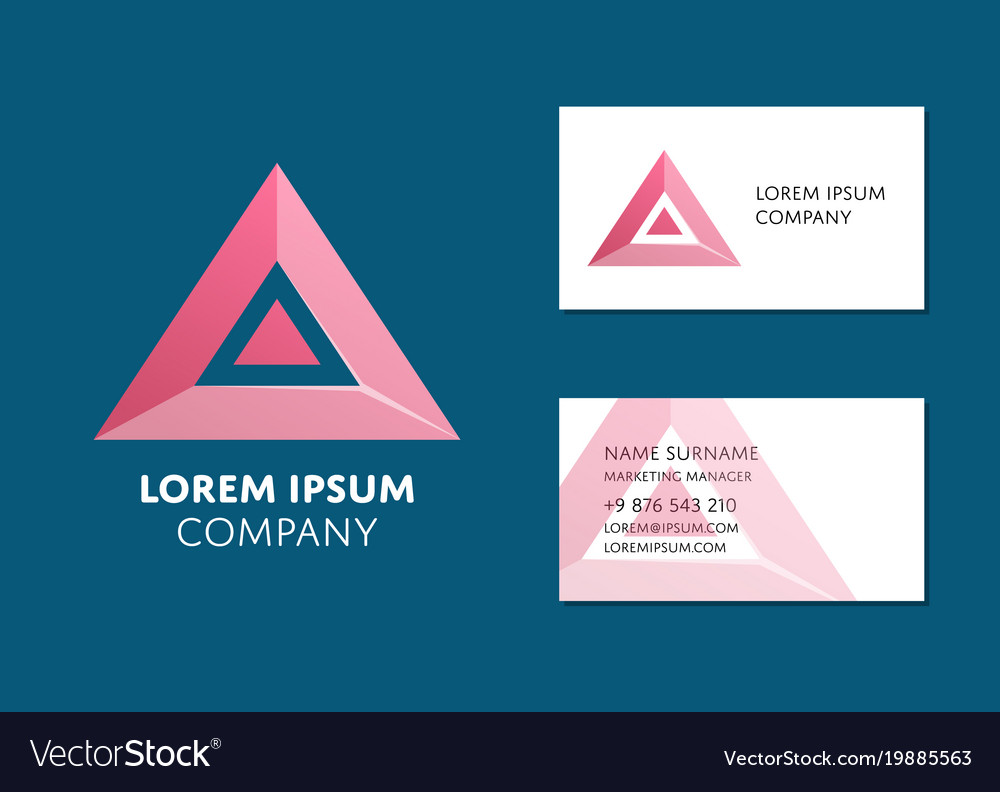 Business card template with red triangle logo vector image fbccfo Choice Image