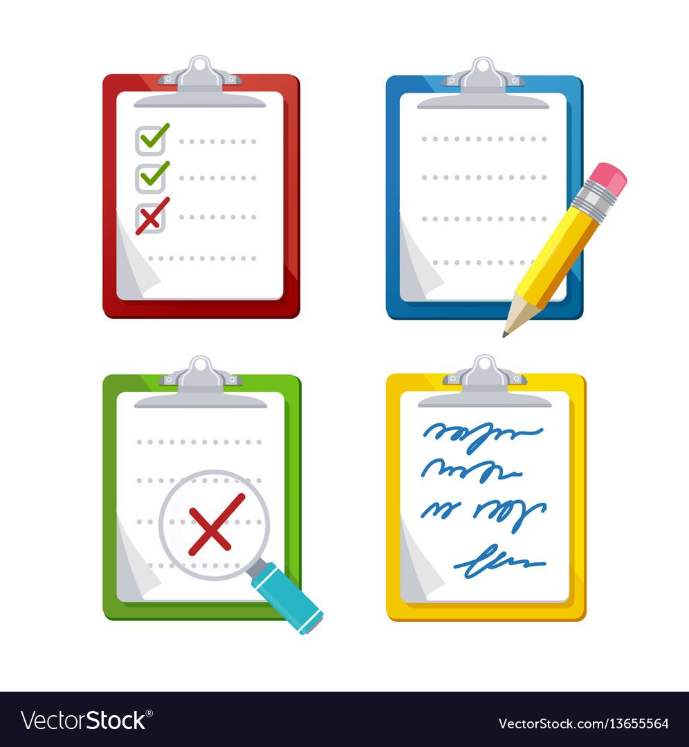 Checklist dashboards survey icon set vector image