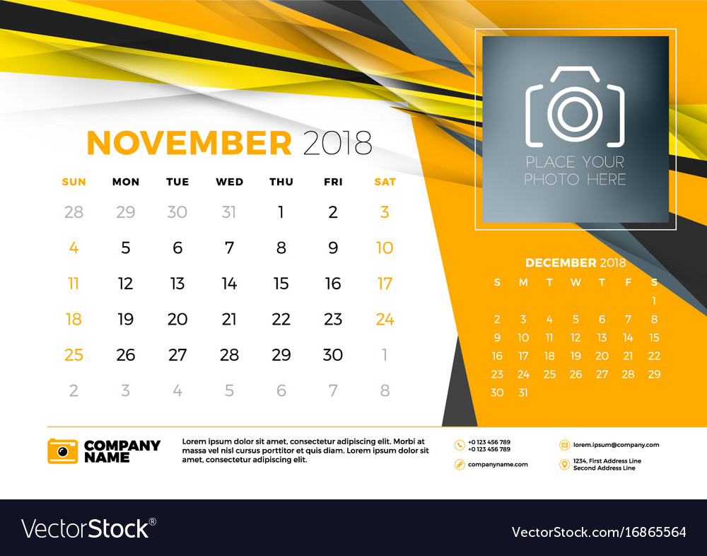 November Calendar Design : November desk calendar design template with vector image