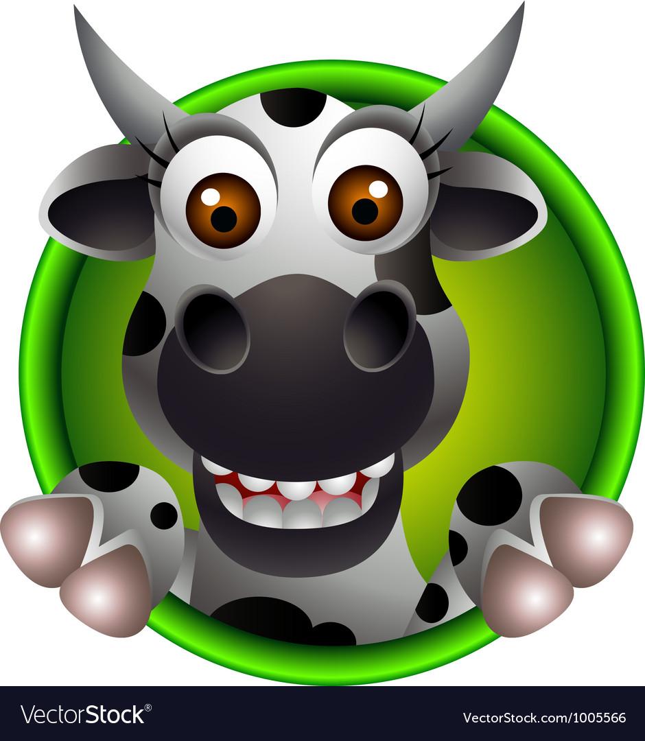 Funny head cow cartoon Vector Image
