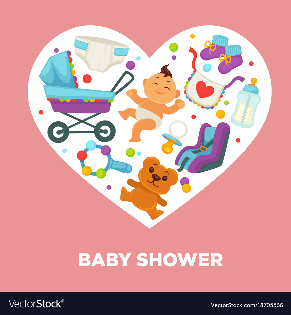 Baby shower greeting card for boy or girl child vector image kristyandbryce Image collections