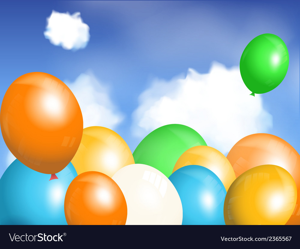 Balloons floating in sky vector image