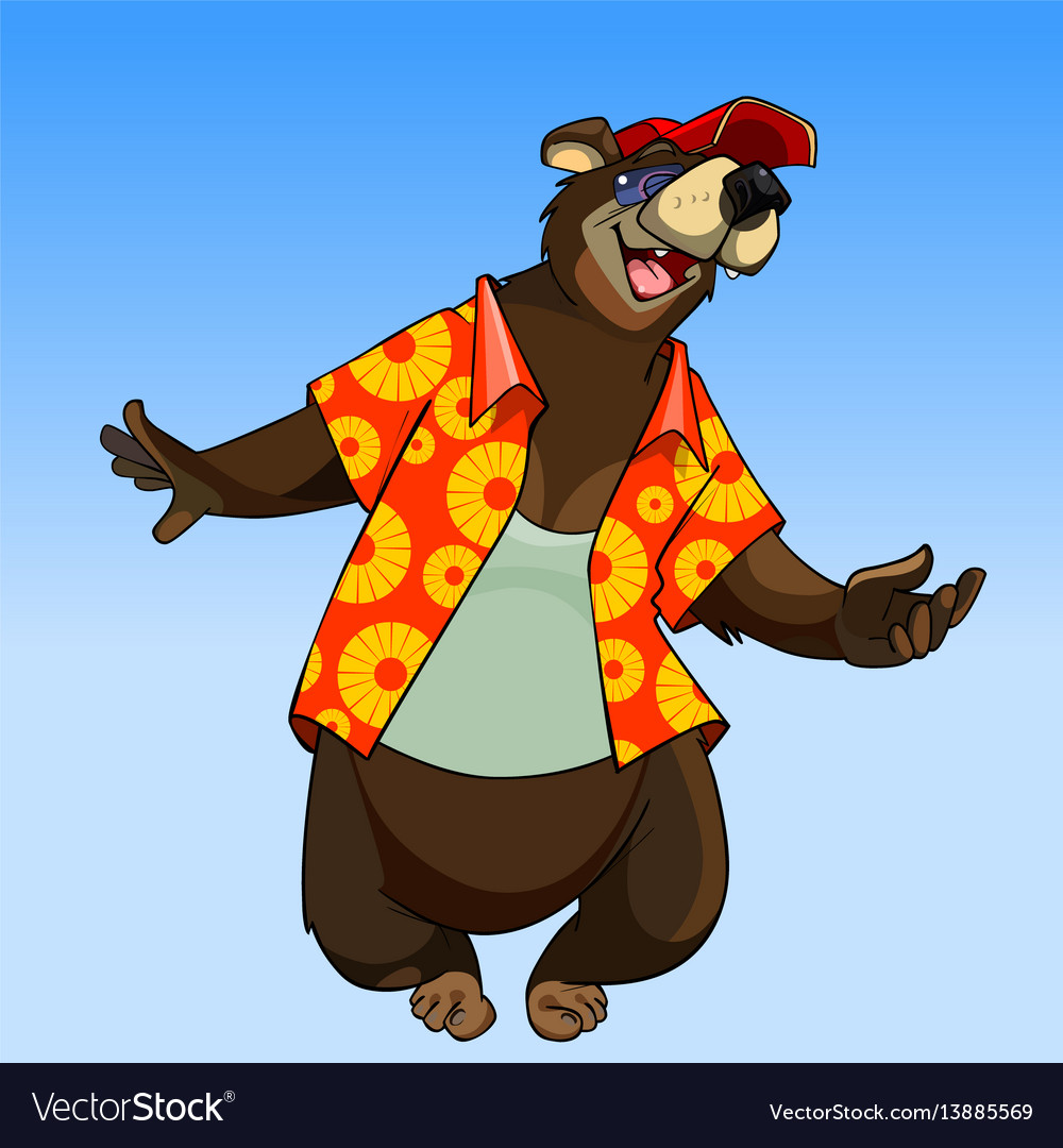 Cartoon character happy bear in summer clothes vector image