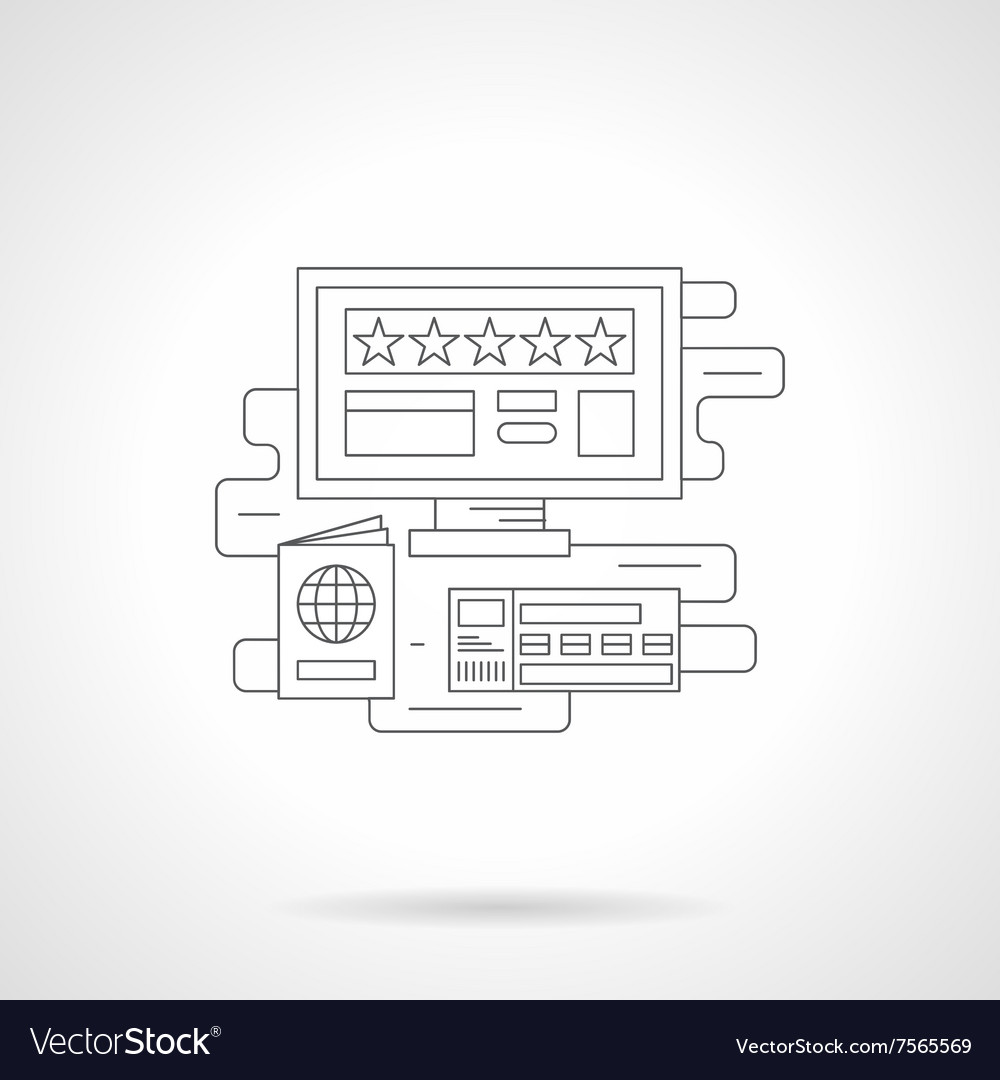 Online booking detail line icon vector image