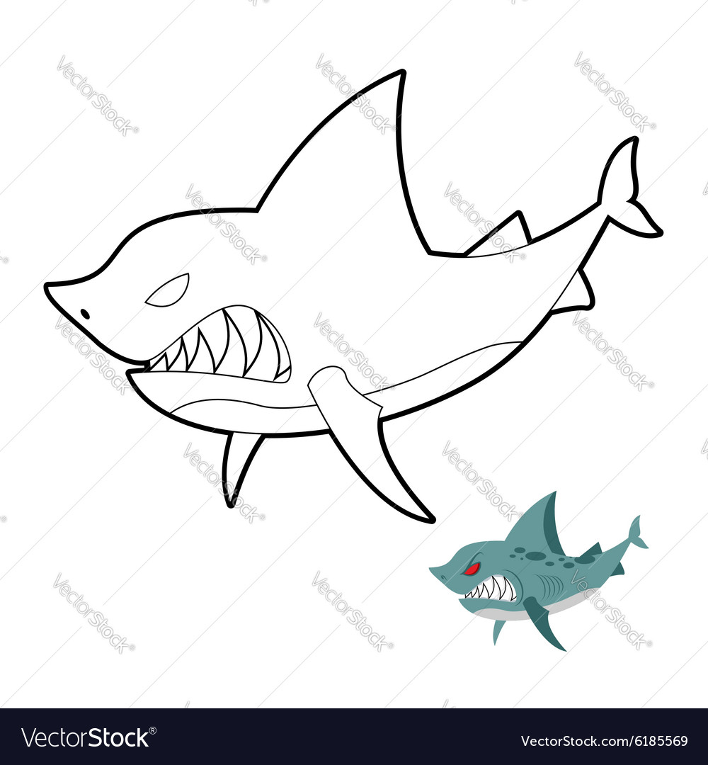 Shark coloring book Angryl underwater animal vector image