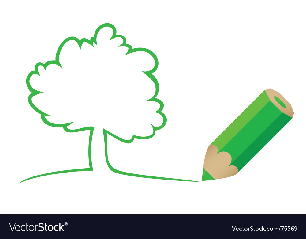 Tree drawn by a pencil vector image
