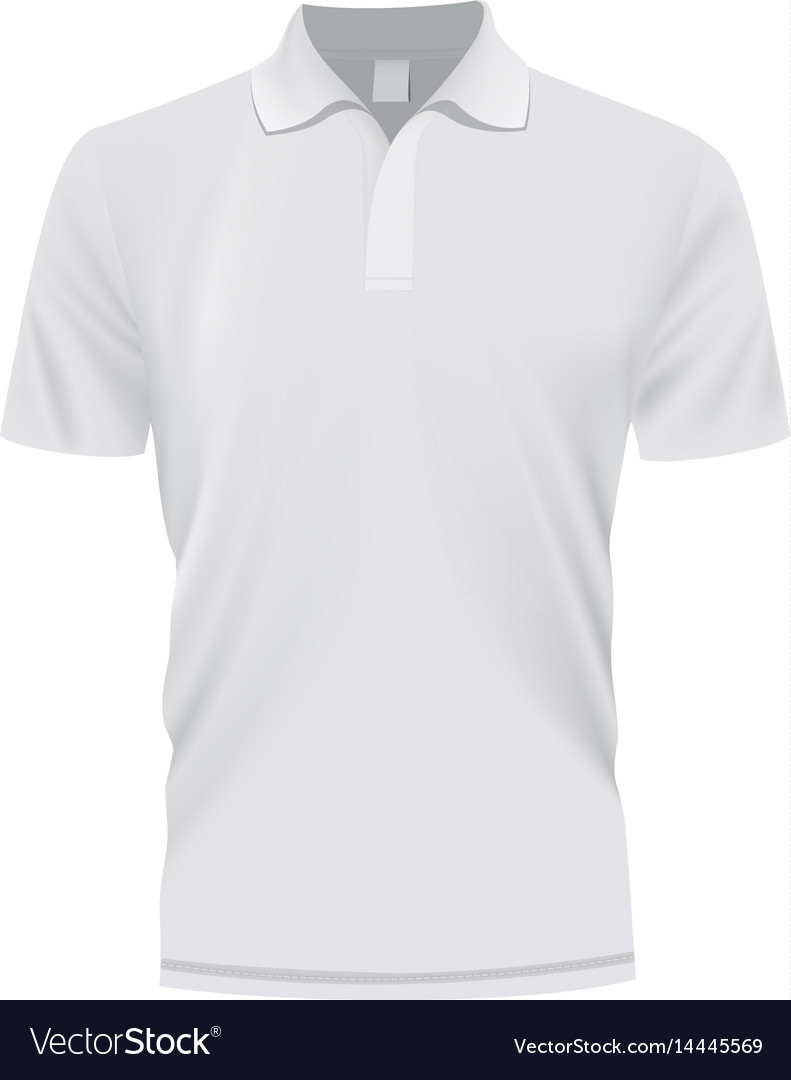 White polo shirt mockup realistic style vector image