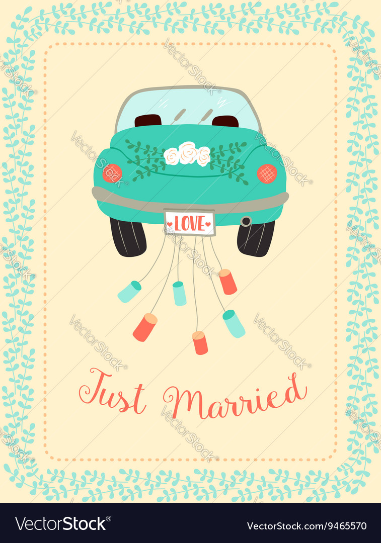 Wedding car with border vector image