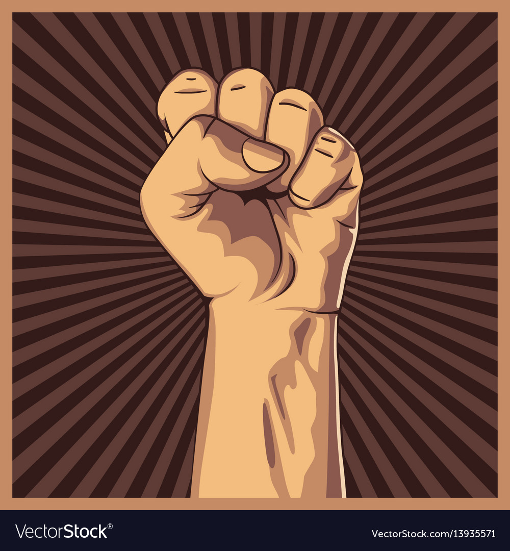 Clenched fist held high in protest background vector image