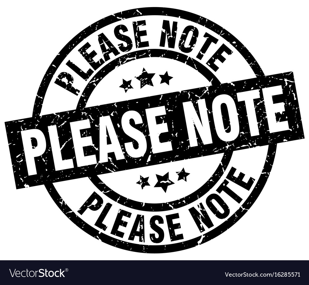 Please note round grunge black stamp vector image