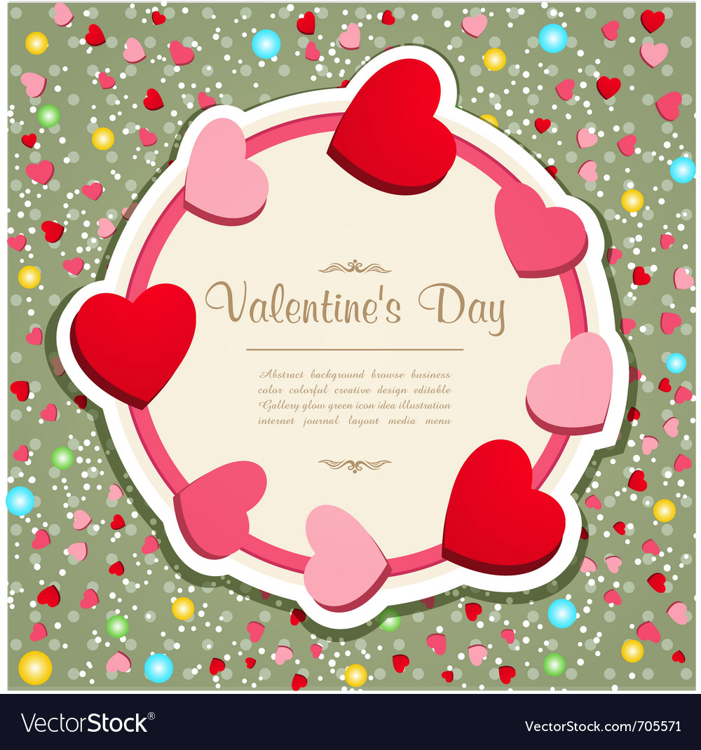 Vintage valentines hearts frame vector image
