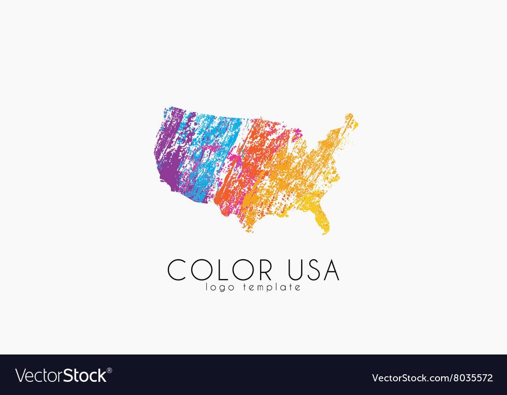 USA Logo Color Map Of USA America Logo Design Vector Image - Usa map design