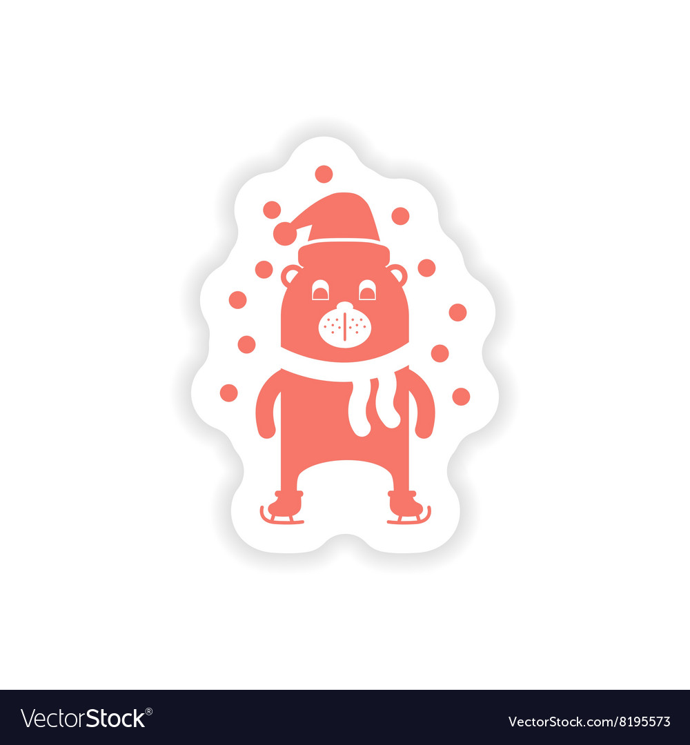 Paper sticker on white background Bear skating