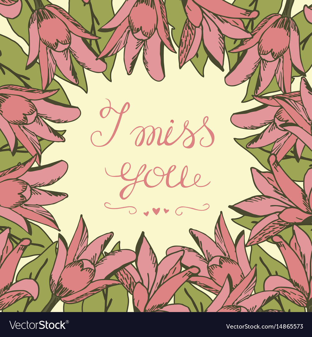 Greeting card with lettering i miss you royalty free vector greeting card with lettering i miss you vector image kristyandbryce Image collections