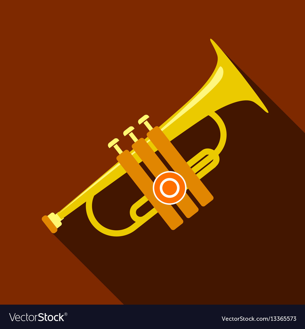 Trumpet icon flat style vector image