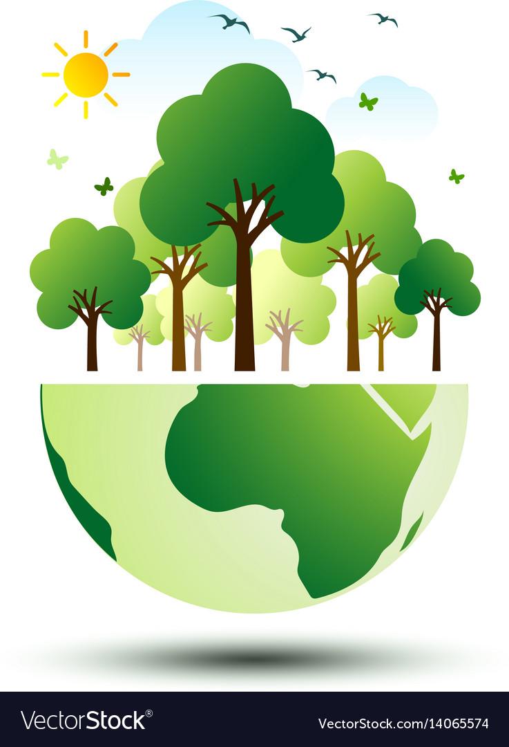 Green eco earth 2 vector image