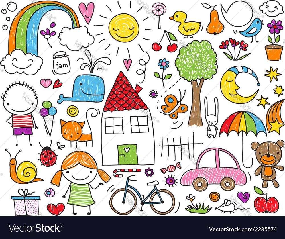 Kids doodle vector image