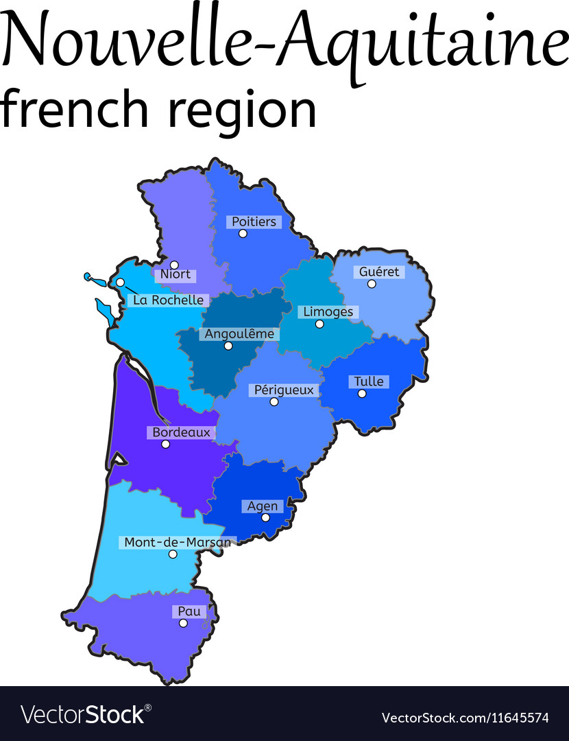 NouvelleAquitaine french region map Royalty Free Vector