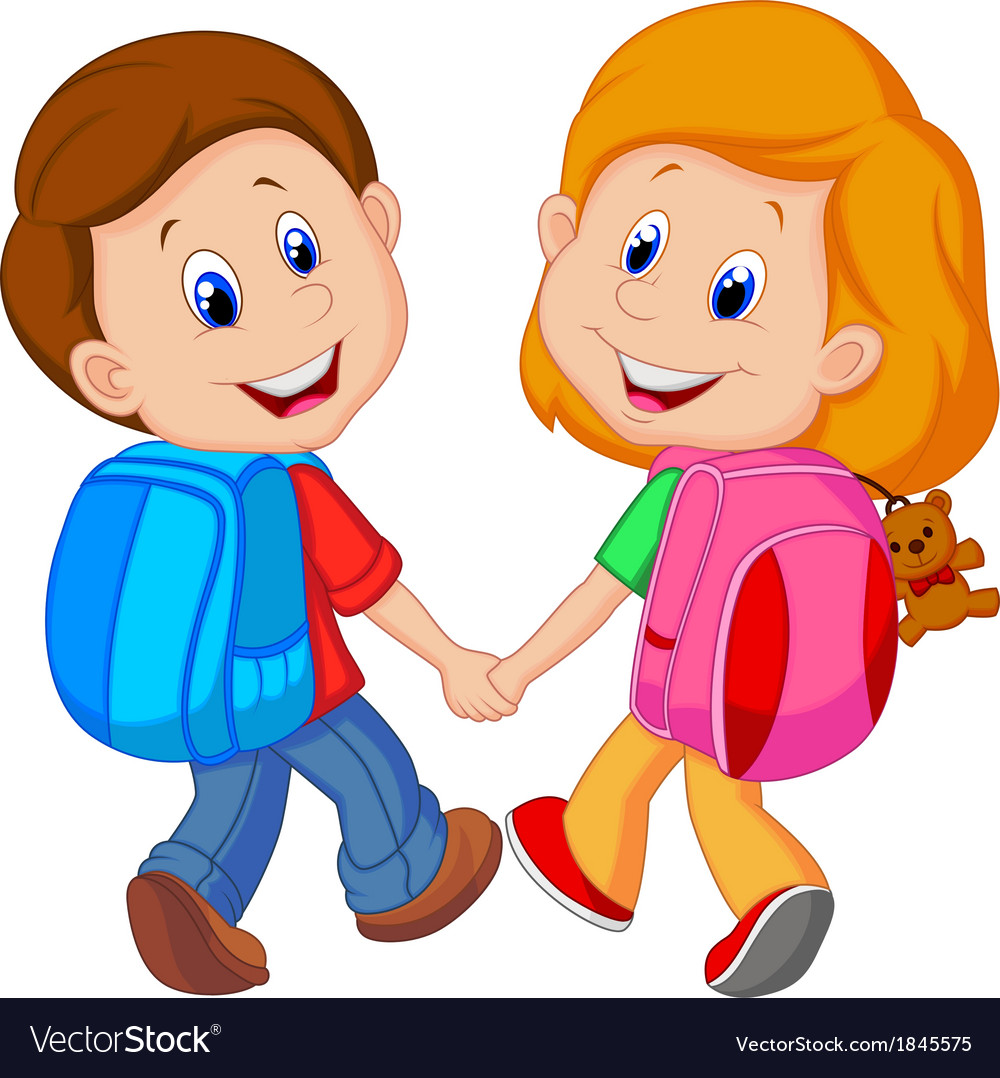 cartoon boy and girl with backpacks vector image - Cartoon Boy Images Free