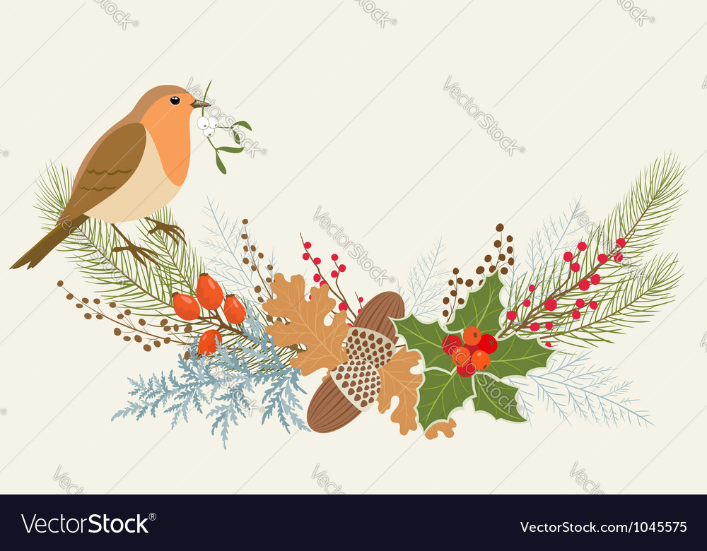 Floral Christmas decoration vector image