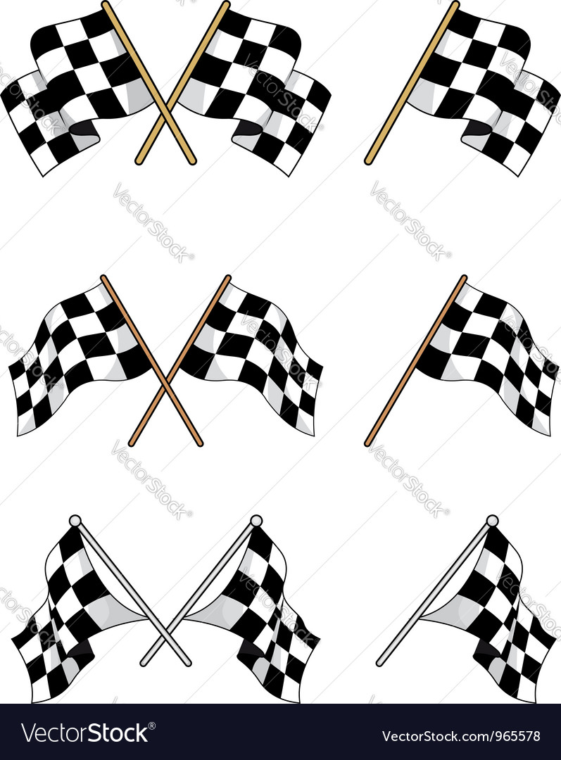 Set of racing checkered flags Vector Image