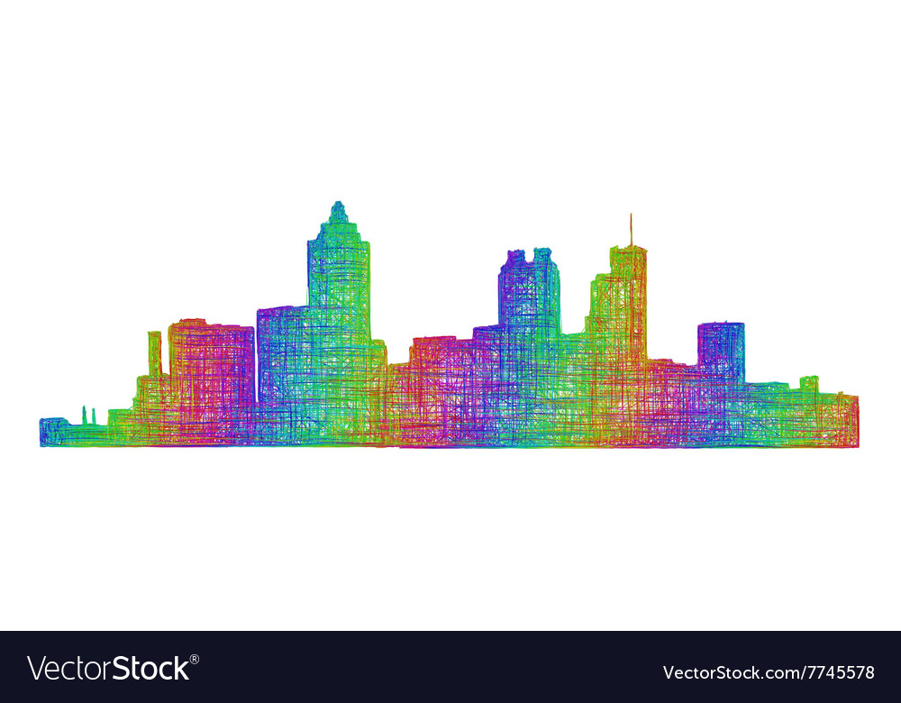 Atlanta skyline silhouette - multicolor line art vector image