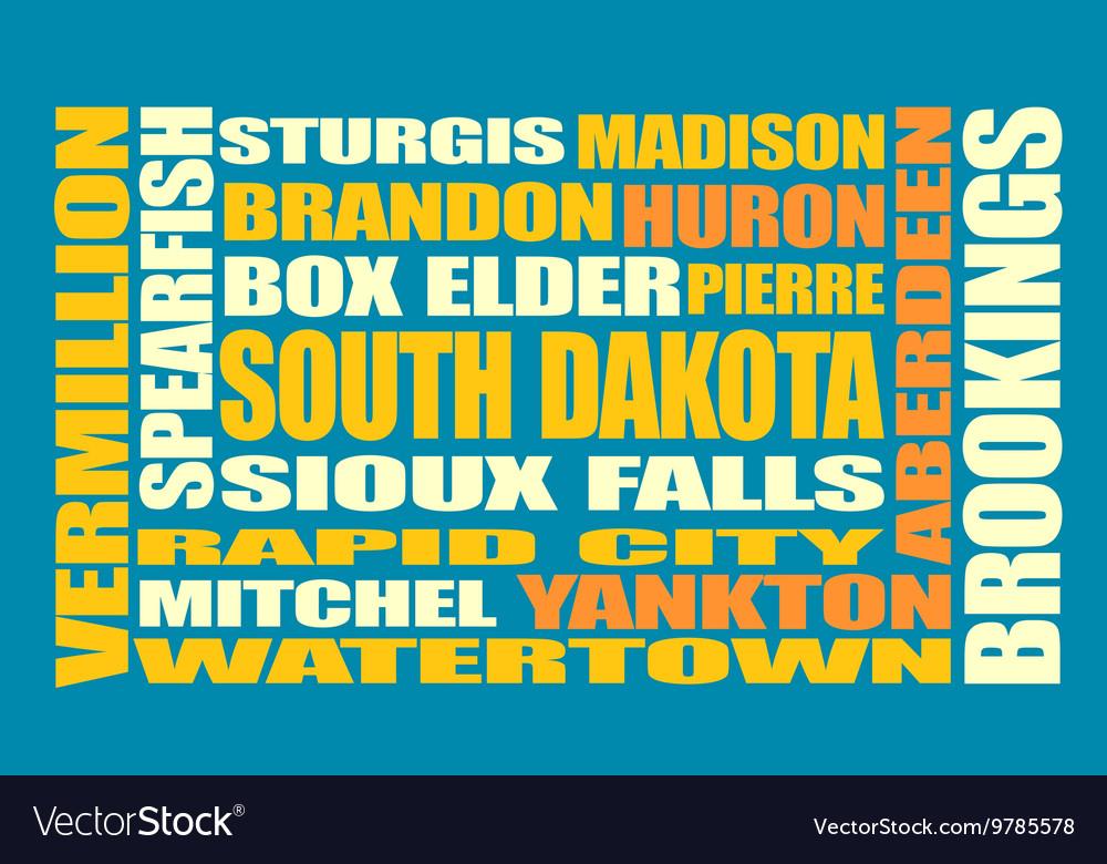South Dakota state cities list vector image