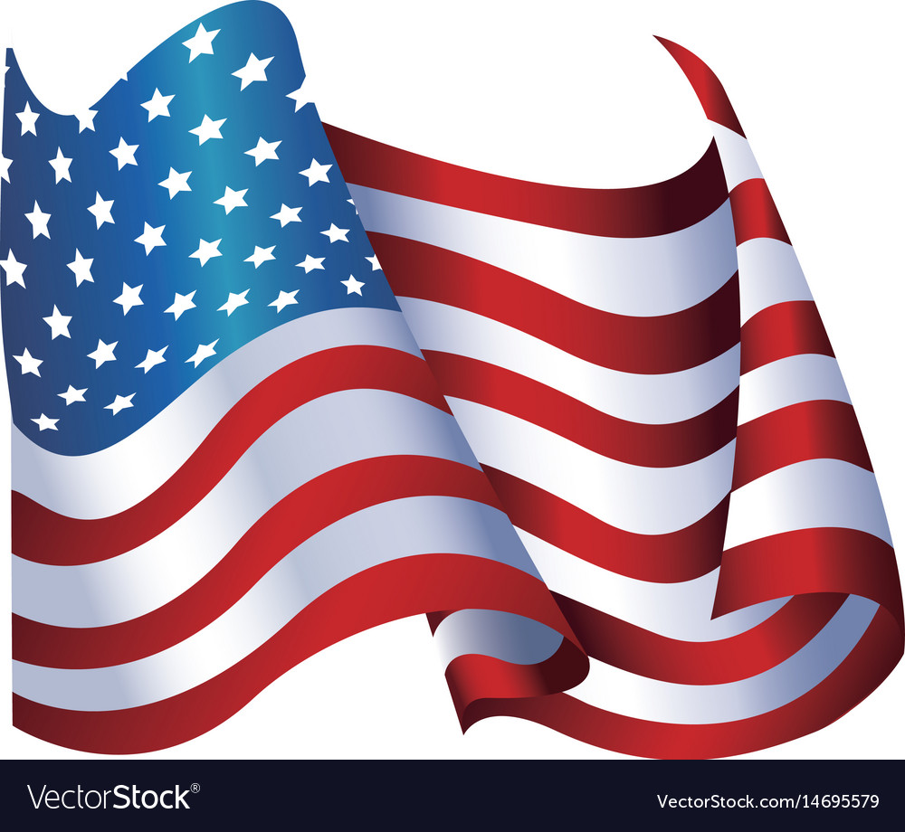 United states of america flag waving glossy symbol vector image