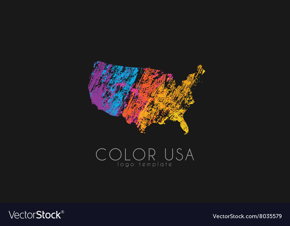 USA logo Color map of USA America logo design vector image