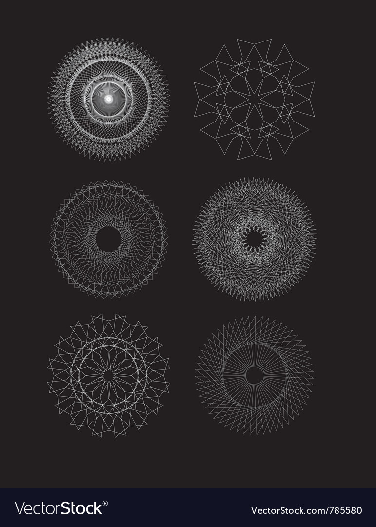 Set of spirograph for design vector image