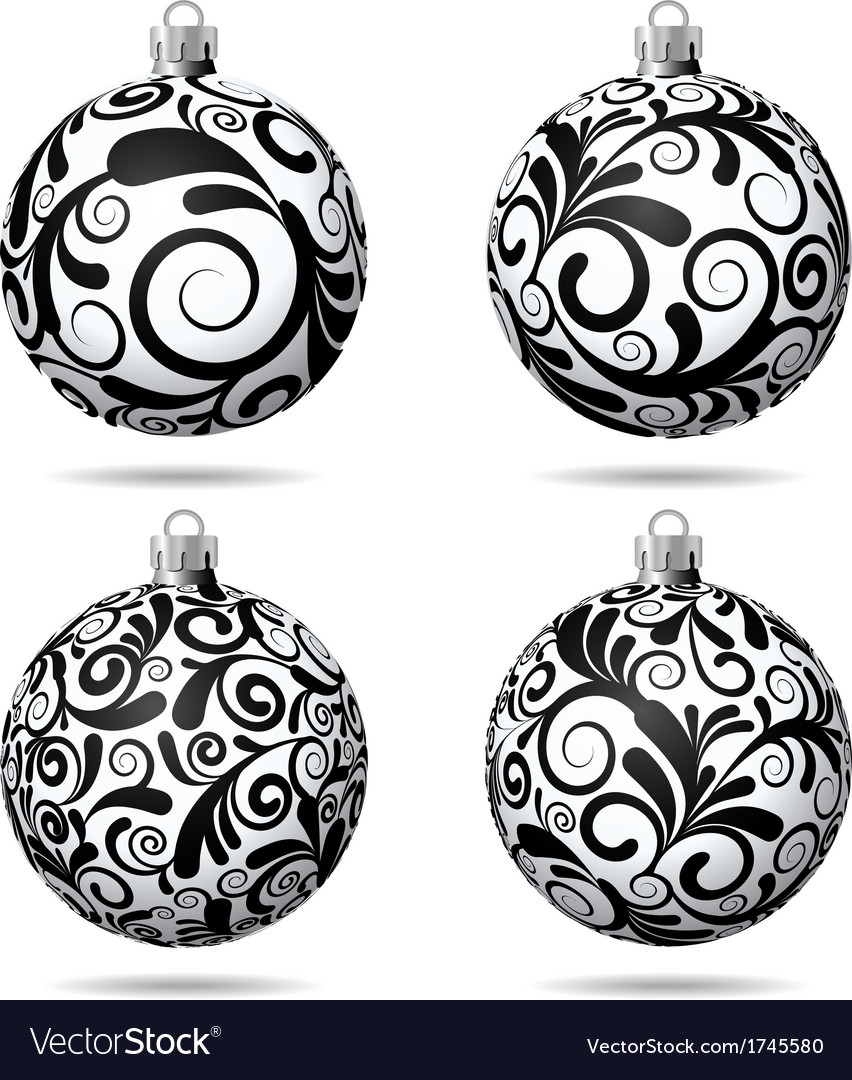 set of black and white christmas balls royalty free vector