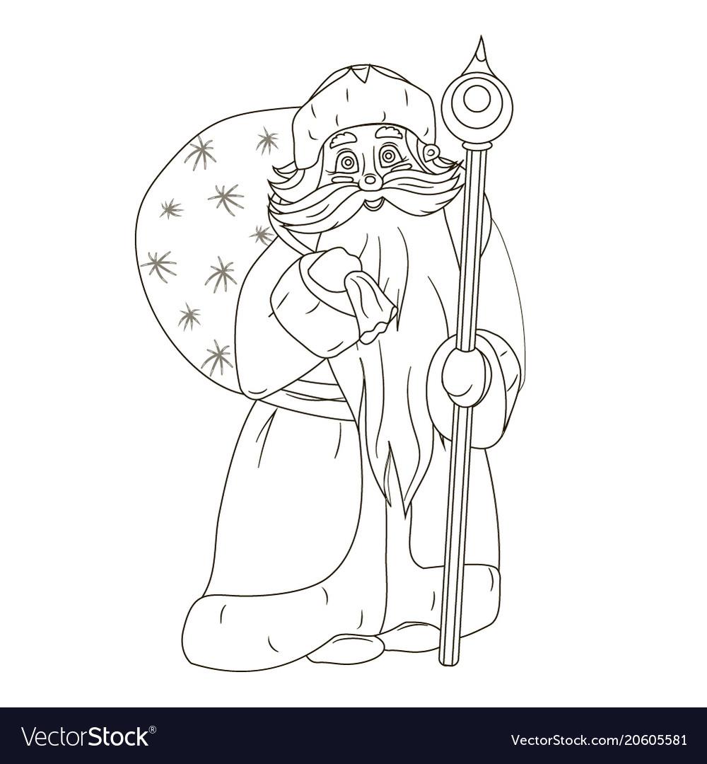 Fabulous santa claus coloring Royalty Free Vector Image