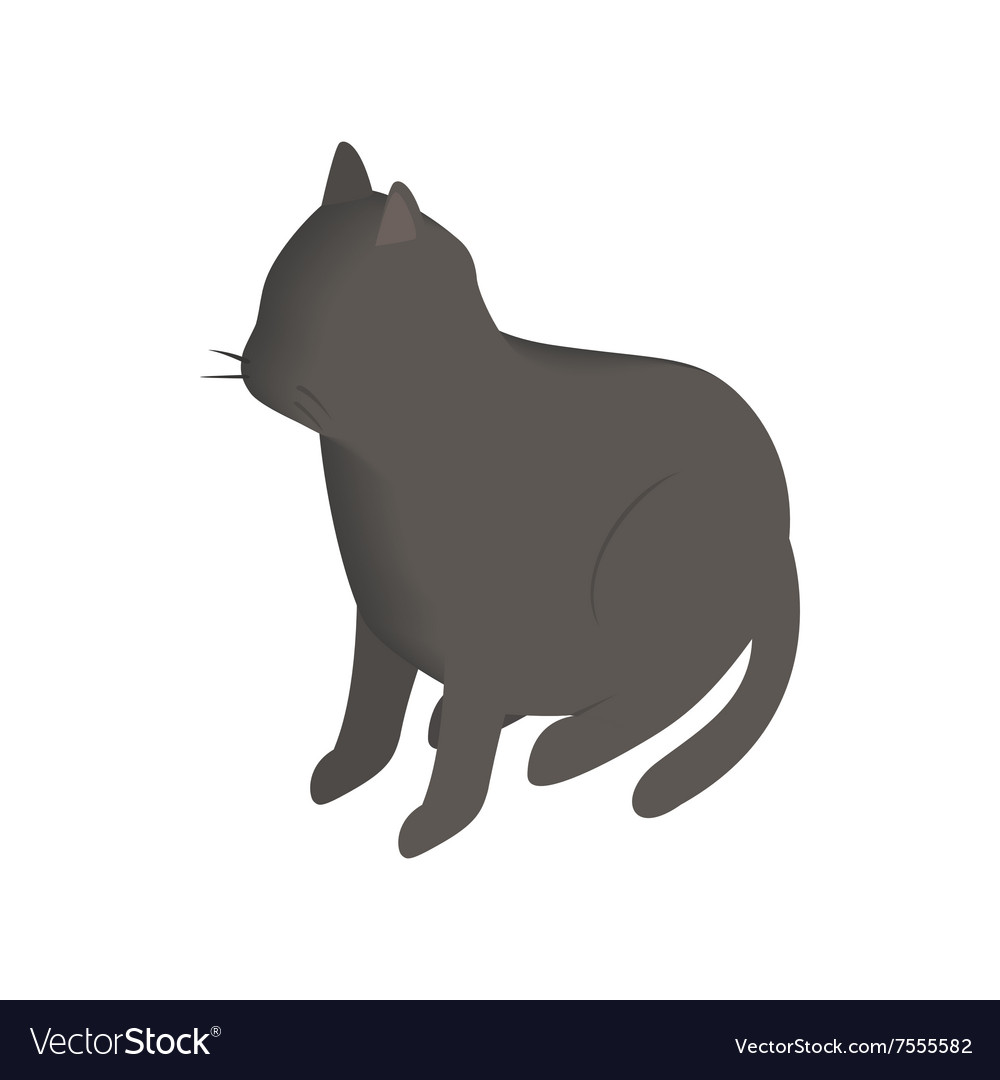 Black cat isometric 3d icon vector image