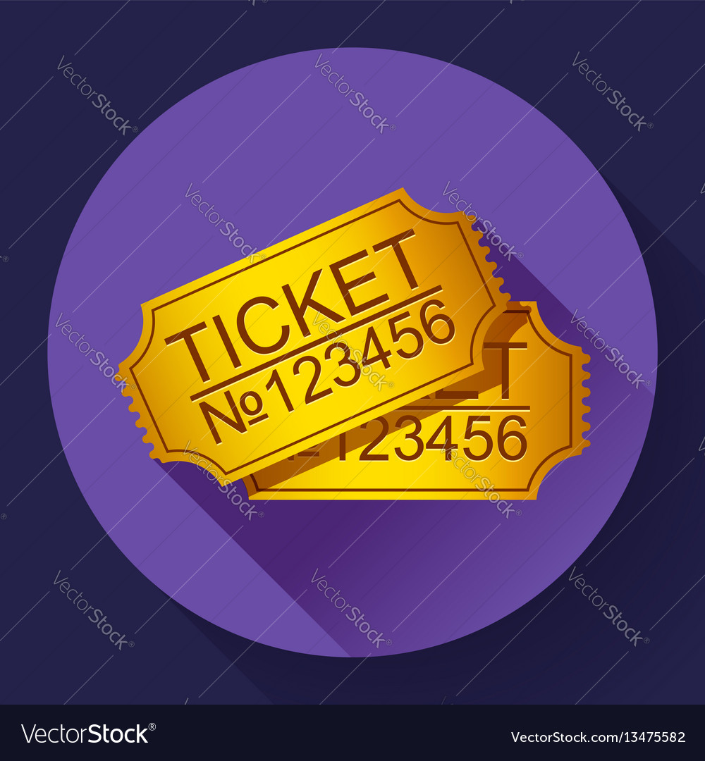 Pair of yellow cinema tickets on blue vector image