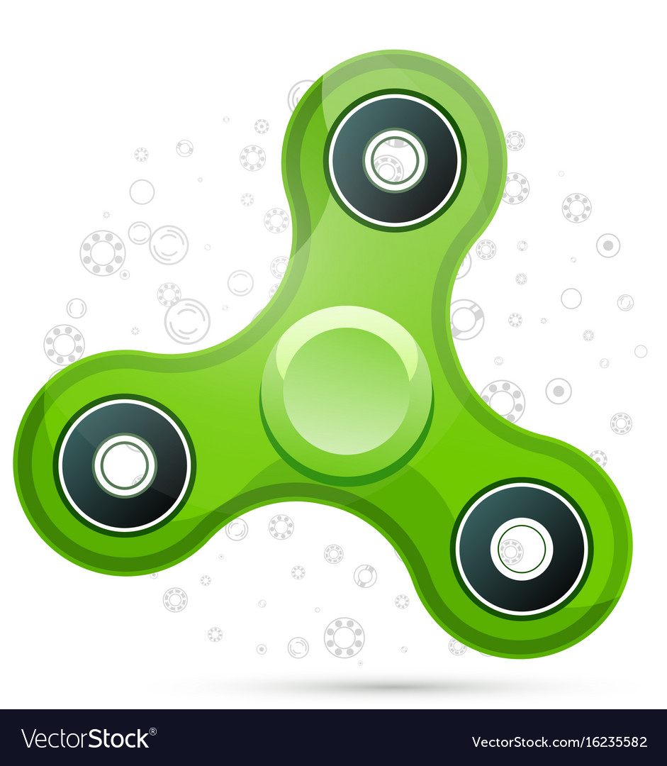Realistic green fidget spinner with highlights vector image