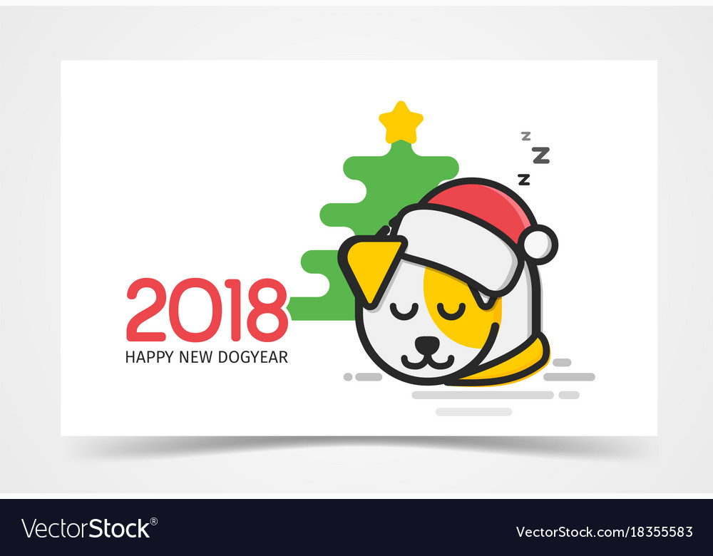 Happy little puppy with santa s hat on his had vector image