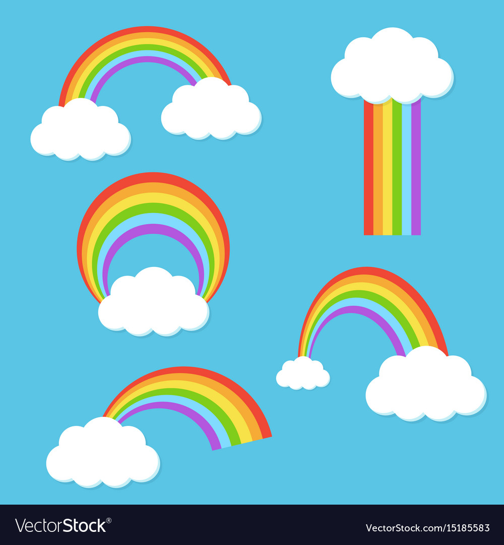 Rainbow with clouds set vector image