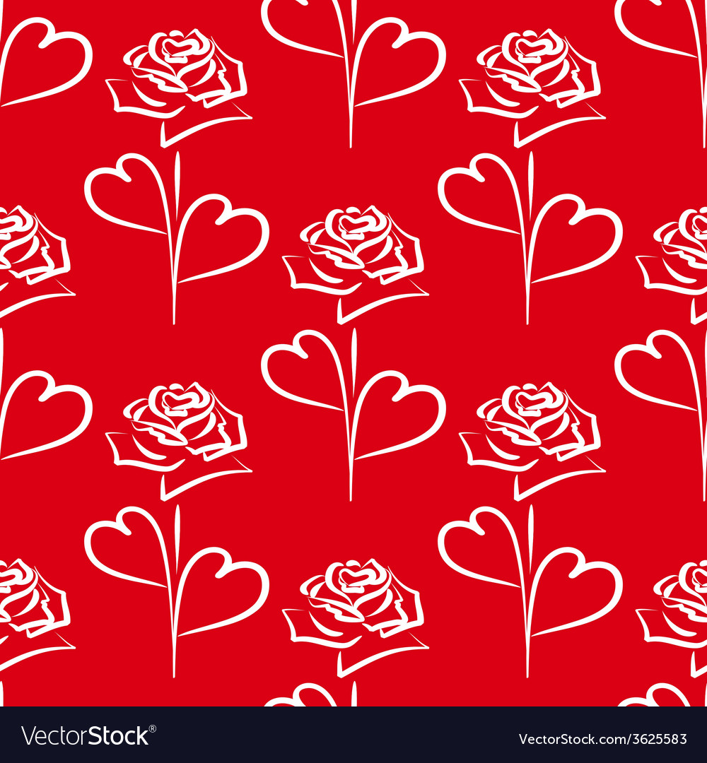 Seamless background of white roses and hearts vector image