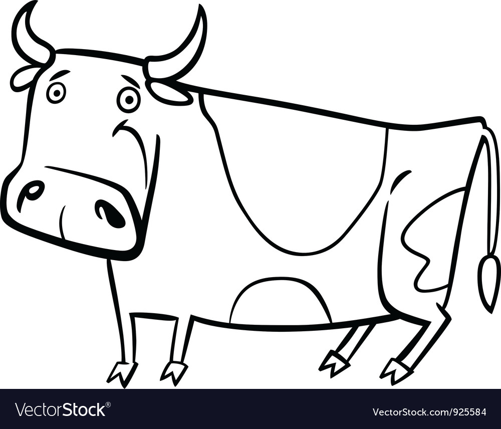 cartoon of farm cow for coloring royalty free vector image