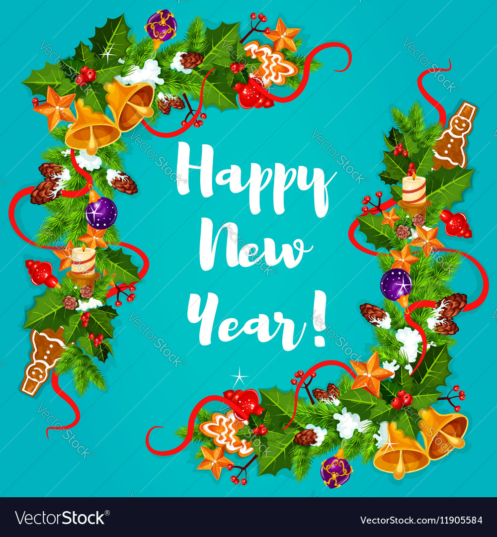 New Year poster Garland frame vector image