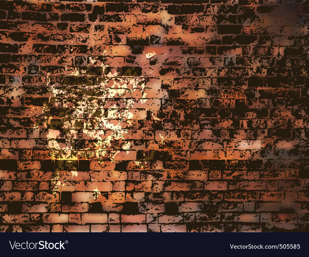 Brick wall with grunge paint splash eps 8 vector image