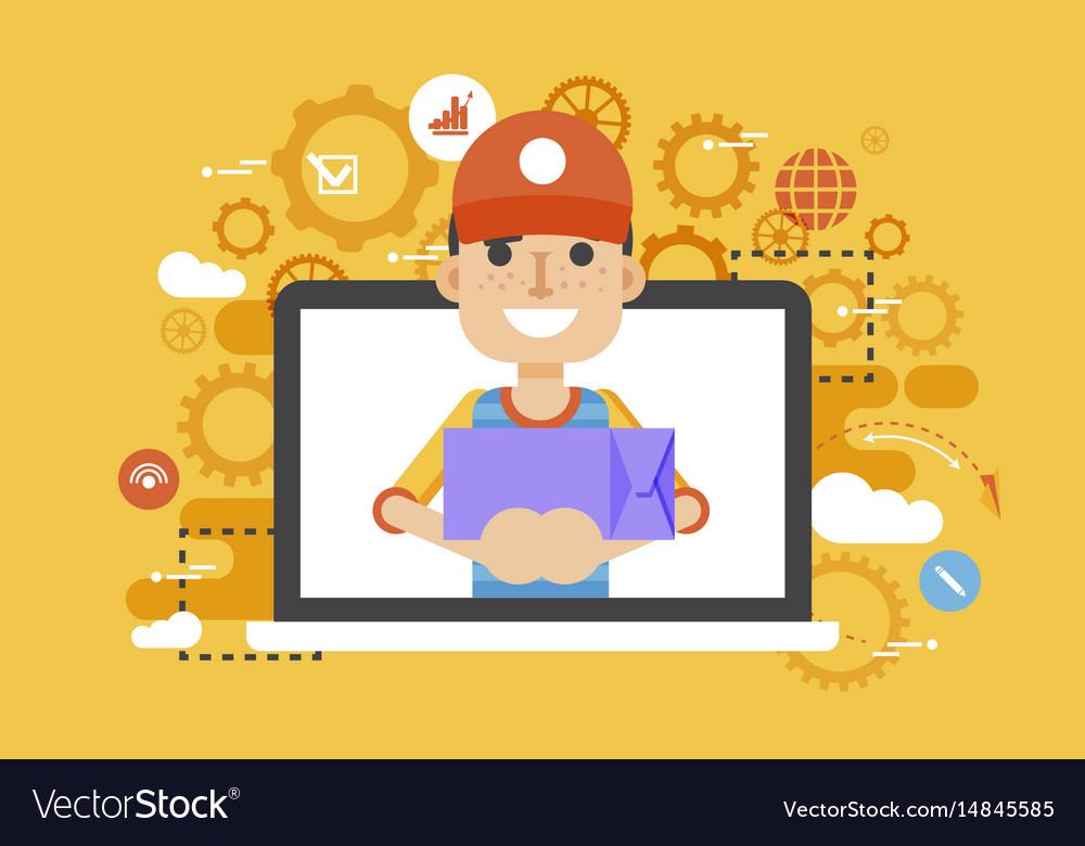 Peddler parcels carrier man vector image