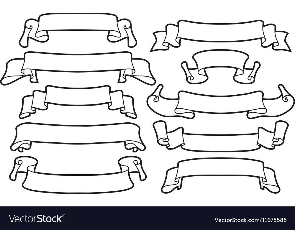 Ribbons set on a white background line art vector image
