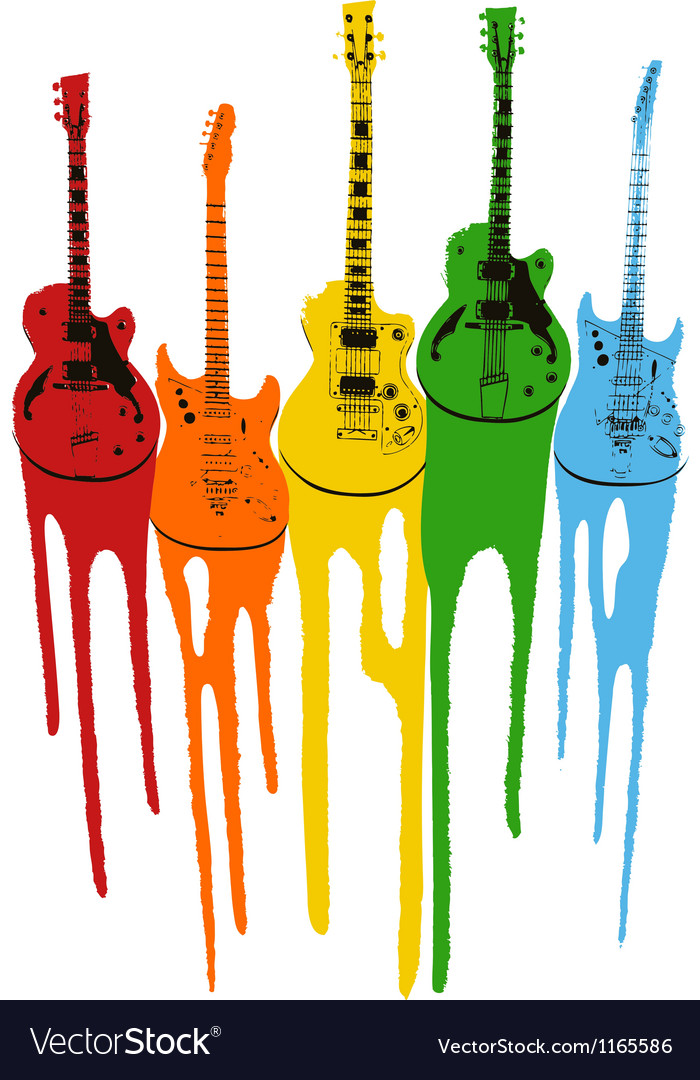 Music guitar in rainbow colour Vector Image